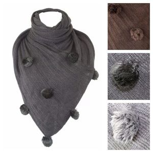 Accessories - Knit Triangle Pompom Scarf B93